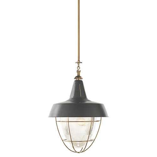 Henry Industrial Hanging Light, Brass