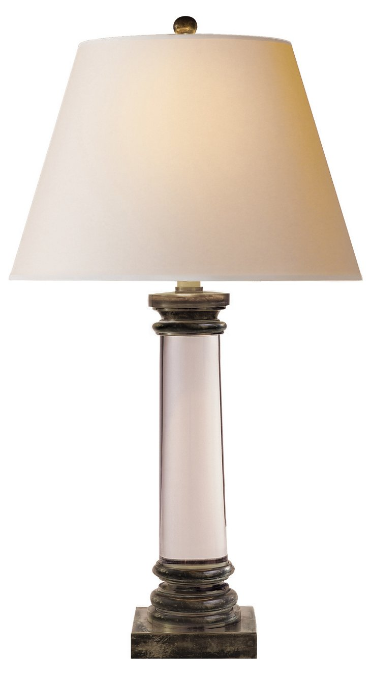 Crystal Column Lamp, Brass Mount