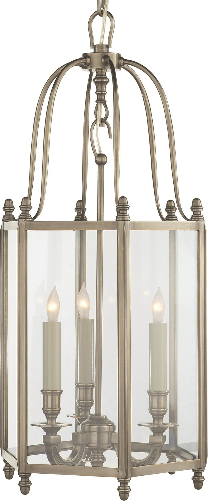 English 3-Light Hall Lantern, Nickel