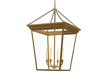 Large Cornice 4-Light Lantern, Brass