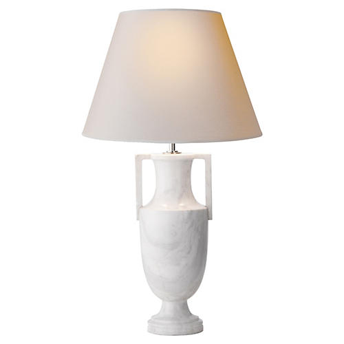 Athena Table Lamp, White Marble