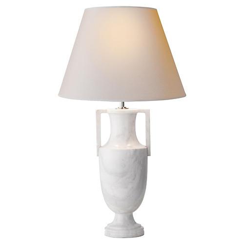 Athena Table Lamp, White Marble