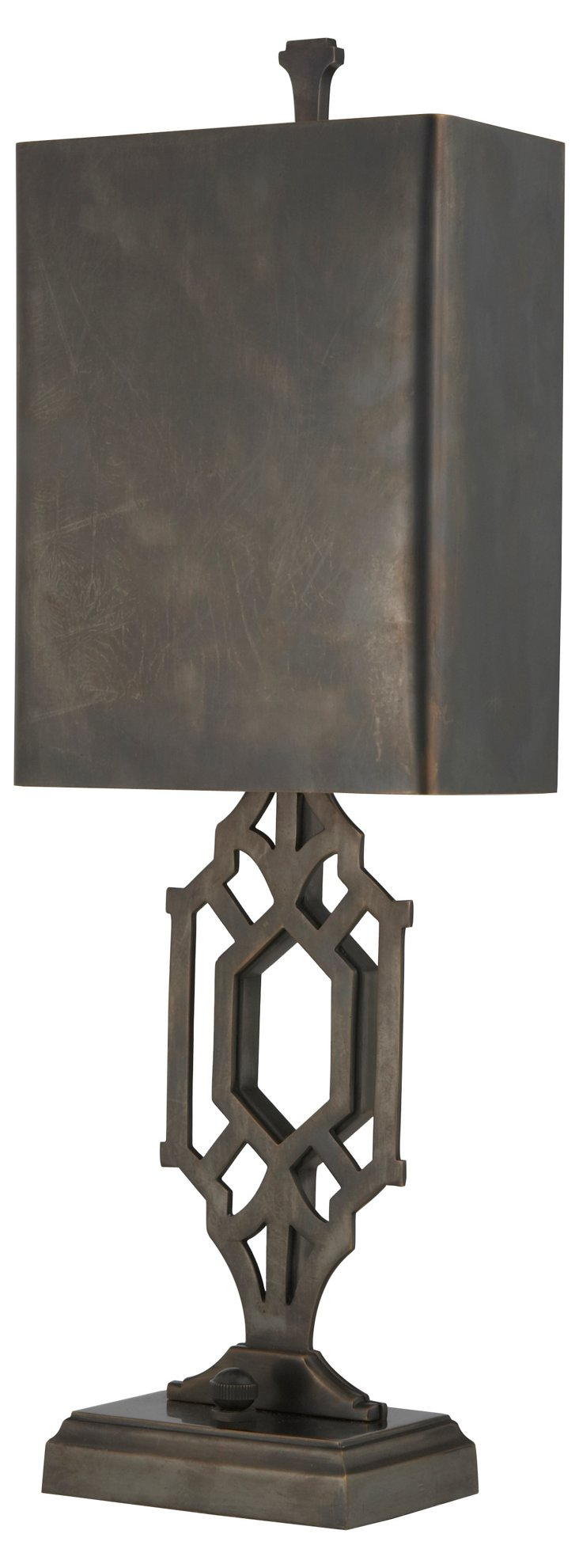 Fretwork Library Table Lamp, Bronze