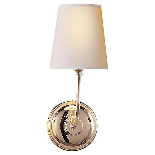 Vendome Single Sconce, Polished Nickel