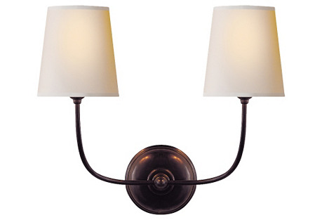 Vendome Double Sconce, Bronze
