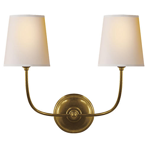 Vendome Double Sconce, Hand-Rubbed Brass