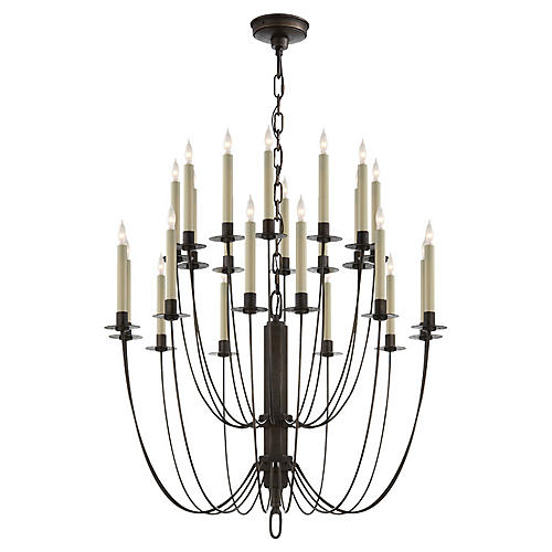 Erika Two-Tier Chandelier, Aged Iron