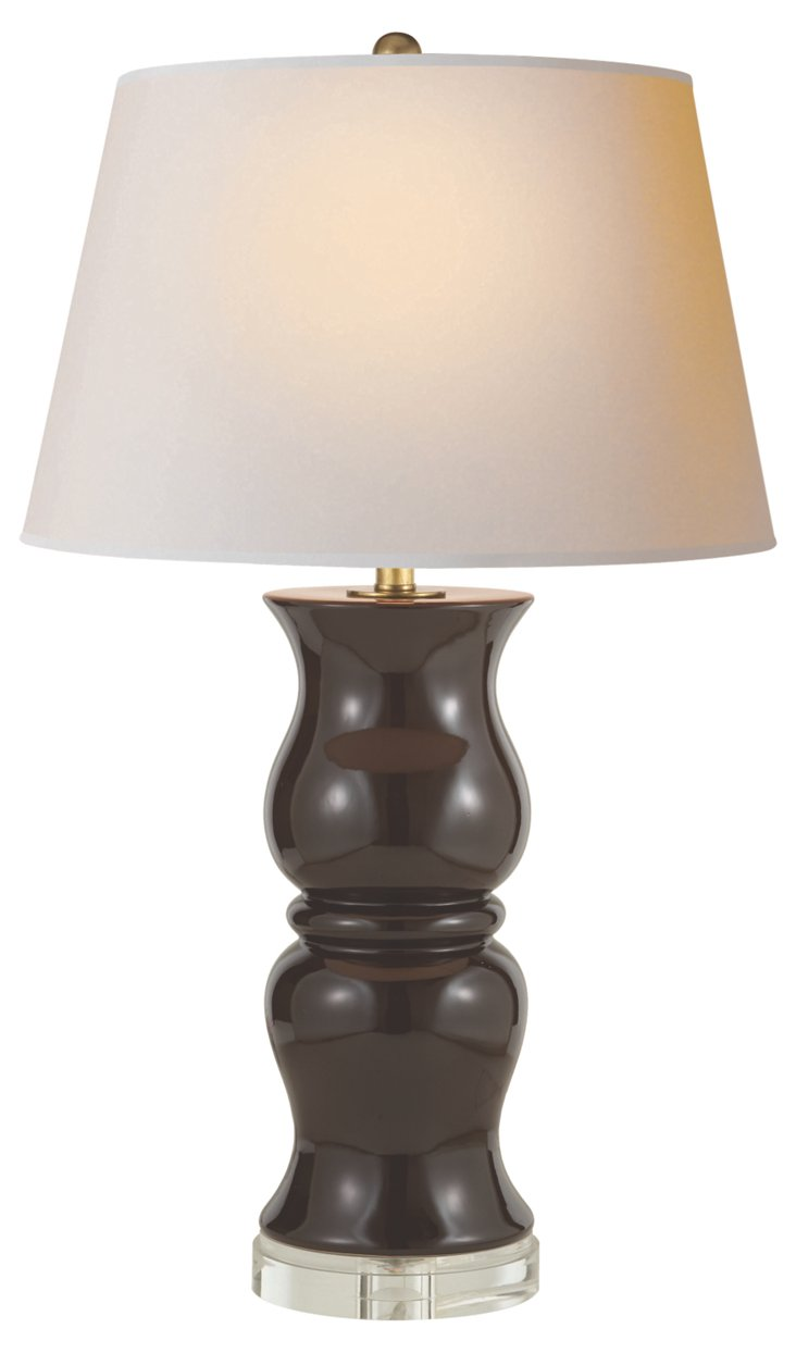 Double Baluster Porcelain Lamp, Brown