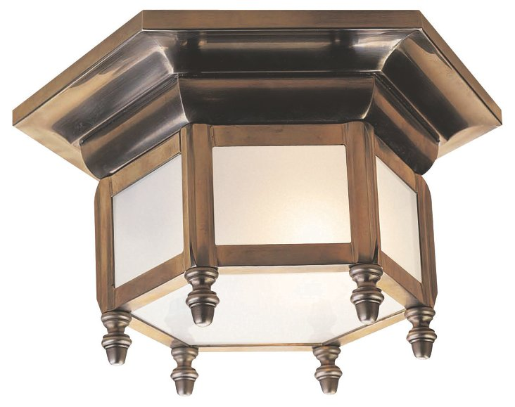 Small Hexagonal Flush Mount, Brass