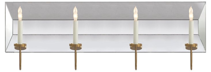 Cotswald 4-Light Mirrored Sconce, Brass