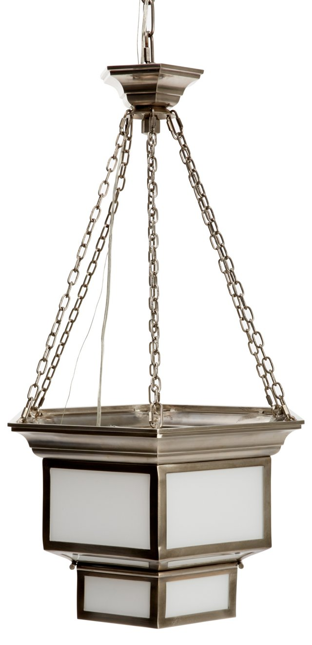 Large Cornice Hanging Lantern, Antiqued