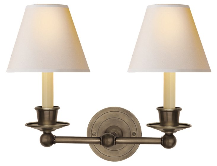 Classic Double Sconce, Antiqued Nickel