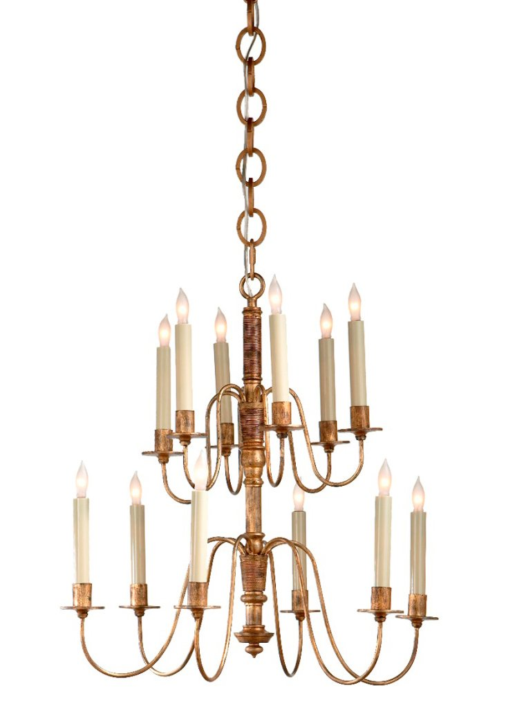 Danny Two-Tier Chandelier, Gilded Iron