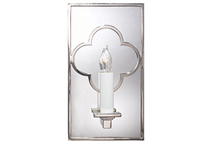 Quatrefoil Mirrored Sconce, Nickel*