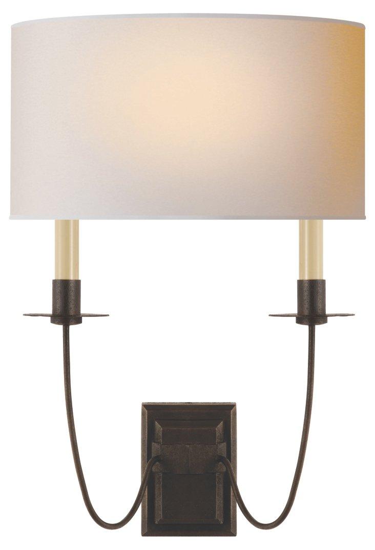 Erika 2-Light Wall Sconce, Aged Iron