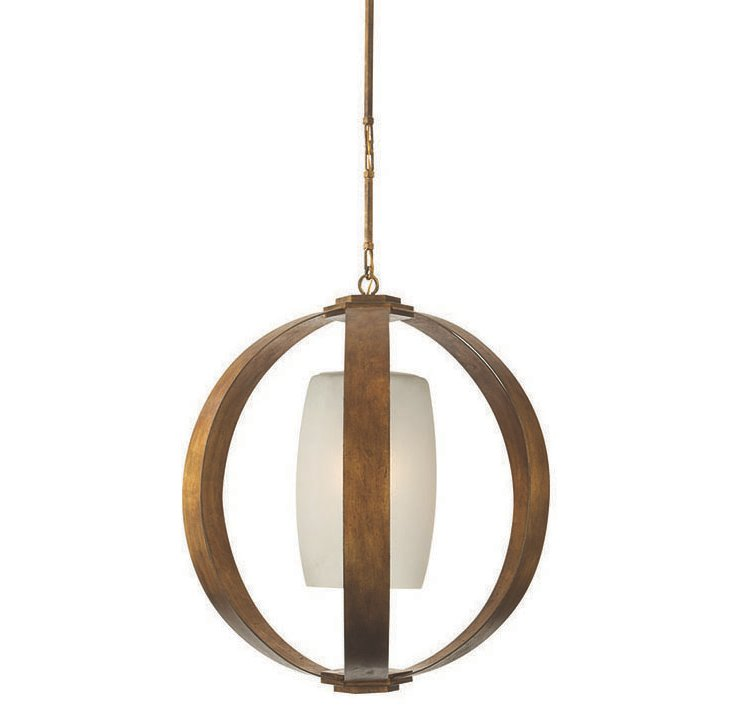 Metal Banded Pendant, Gilded Iron