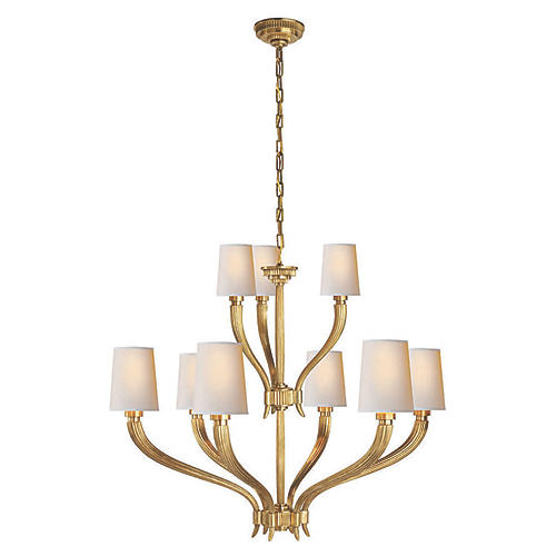 Ruhlmann Two-Tier Chandelier, Brass