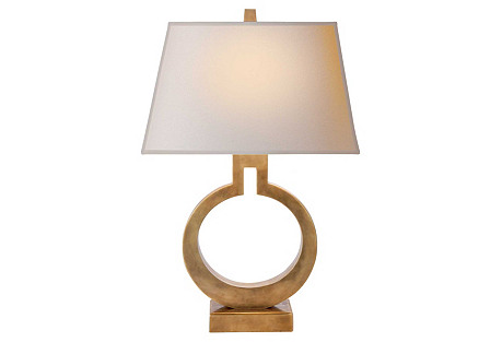 Small Ring Table Lamp, Antique Brass
