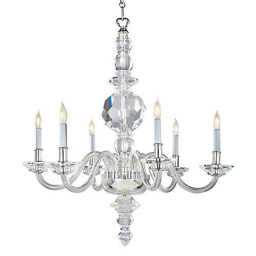 George II 6-Light Chandelier, Crystal