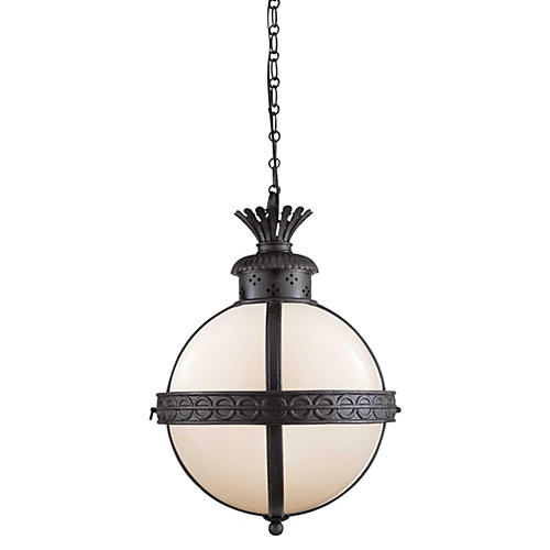 Crown-Top Banded 3-Light Globe, Black