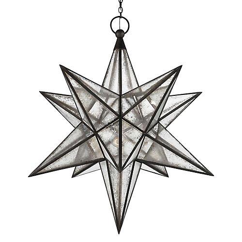 Moravian Star 3-Light Pendant, Aged Iron
