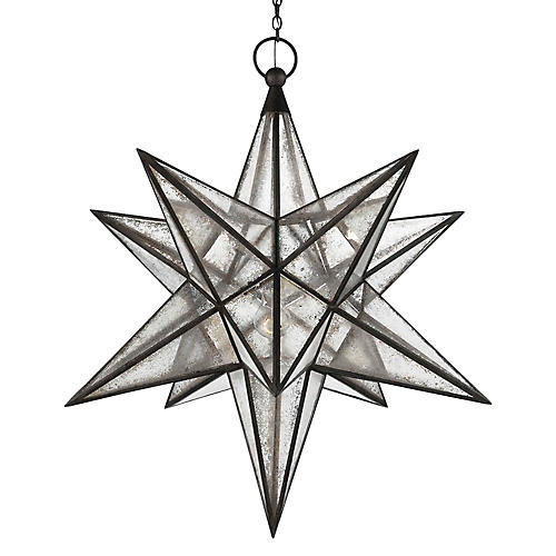 Moravian Star 3-Light Pendant, Aged Iron