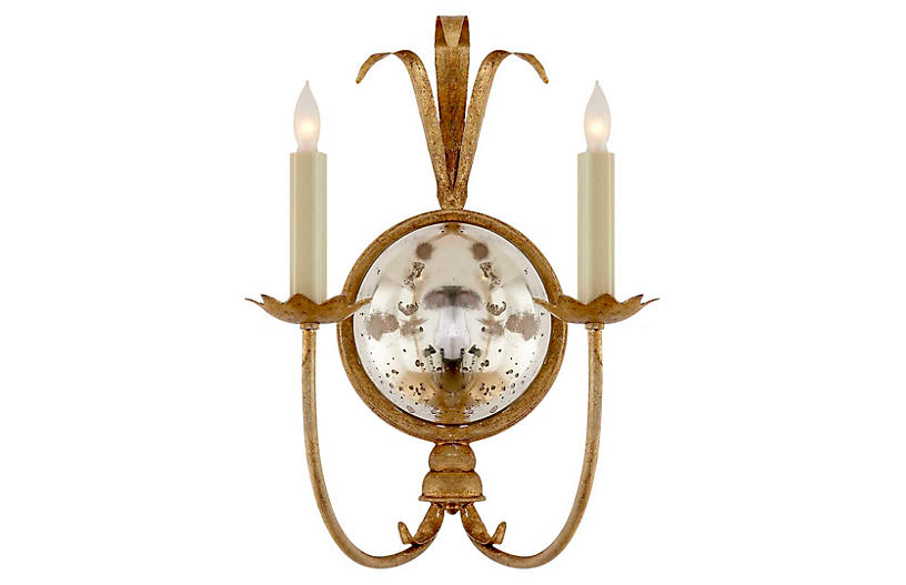 Gramercy Sconce, Gilded Iron