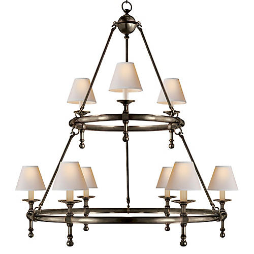 Two-Tier 9-Light Chandelier, Bronze