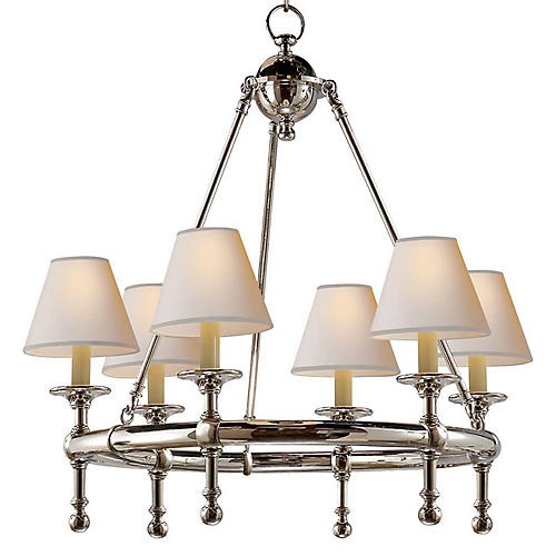 Mini Ring 6-Light Chandelier, Nickel