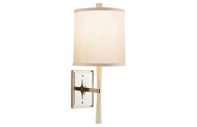 Refined Rib Sconce, Ivory
