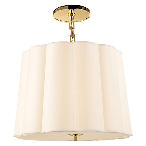 Simple Scallop Chandelier, Brass