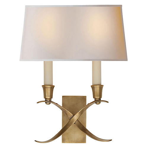 Small Cross Bouillotte Sconce, Brass
