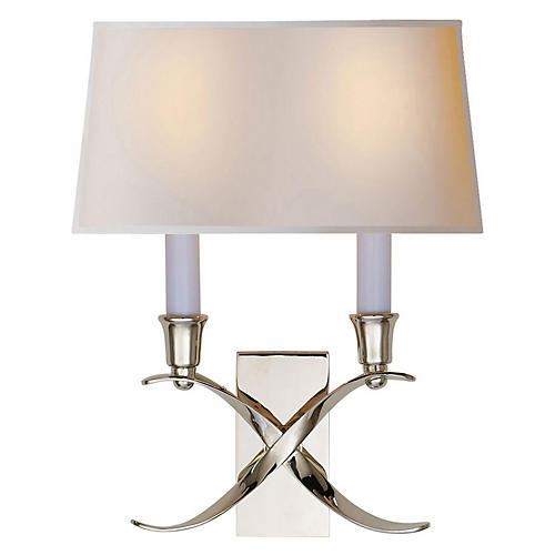 Small Cross Bouillotte Sconce, Nickel