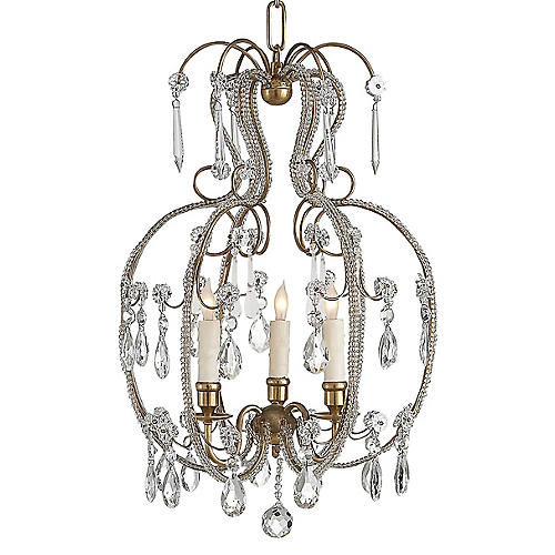 Hurley 3-Light Chandelier, Antique Brass