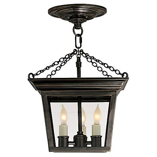 Cornice Semi-Flush Lantern, Bronze