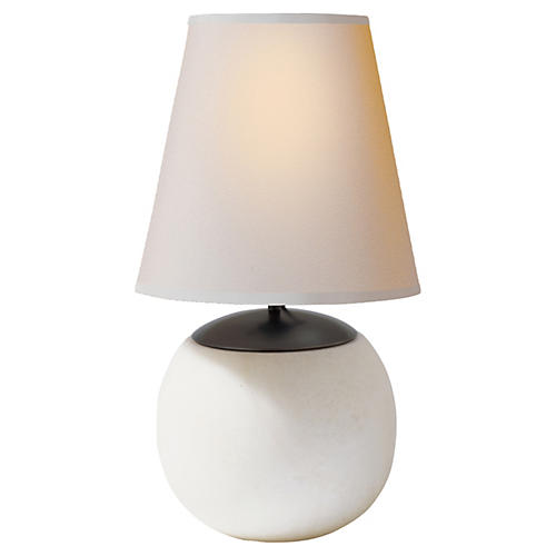 Terri Round Accent Lamp, Alabaster