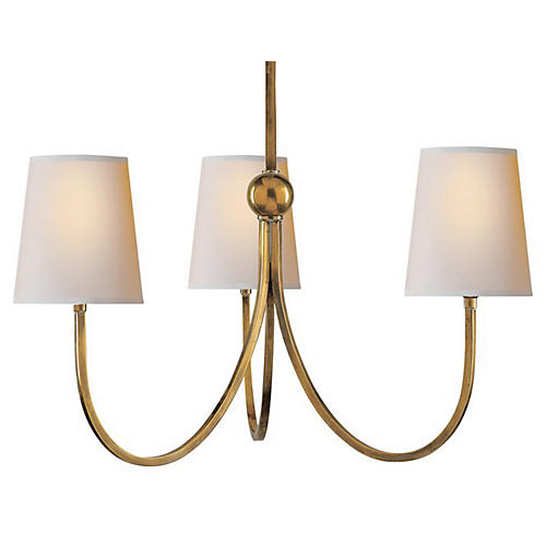 Reed 3-Light Chandelier, Antique Brass