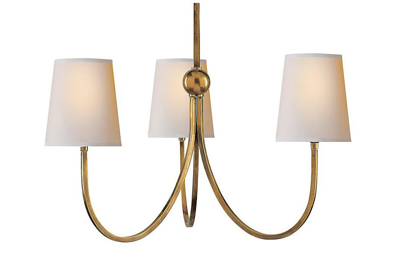 Reed 3-Light Chandelier - Antique Brass - Visual Comfort & Co.