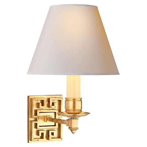 Abbot Single Arm Sconce, Natural Brass