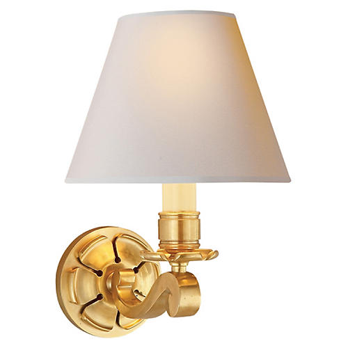 Bing Single Arm Sconce, Natural Brass