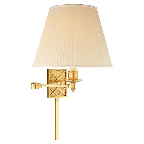 Gene Swing Arm 1-Light Sconce, Brass