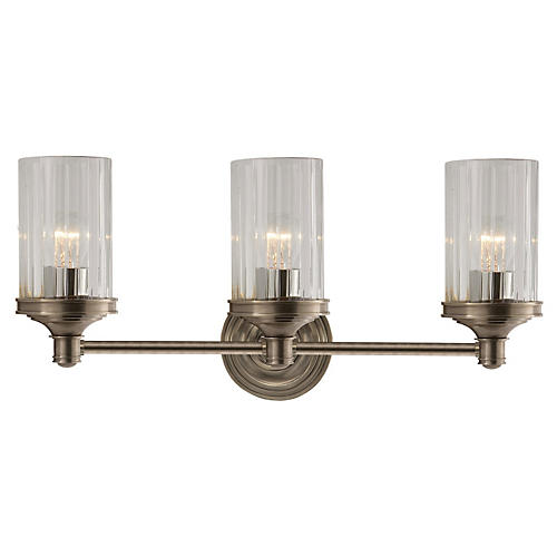 Ava 3-Light Sconce, Antiqued Nickel
