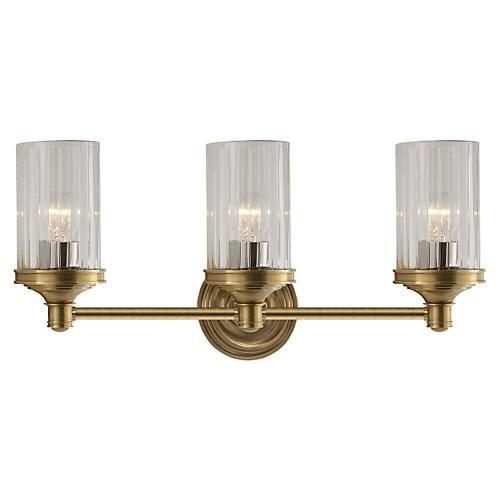 Ava 3-Light Sconce, Antiqued Brass