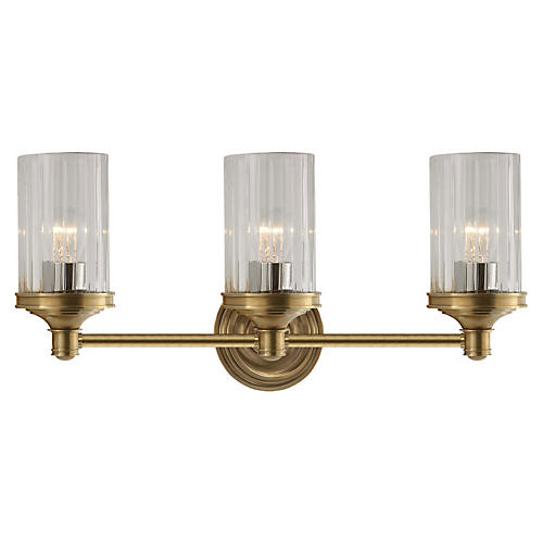 Ava 3-Light Sconce, Antiqued Brass