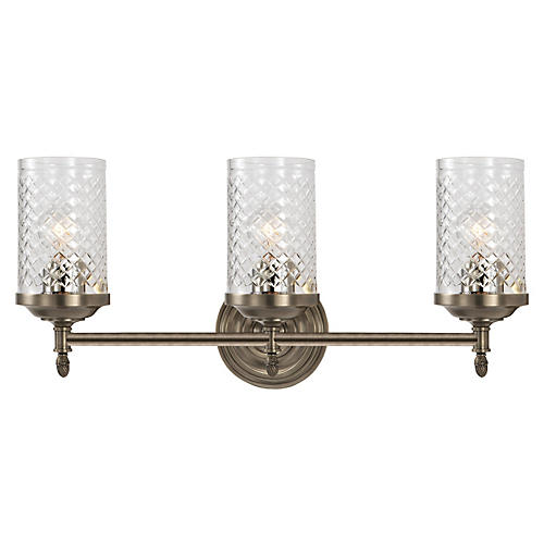 Lita Triple Sconce, Antiqued Nickel