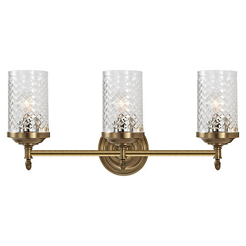 Lita Triple Sconce, Antiqued Brass