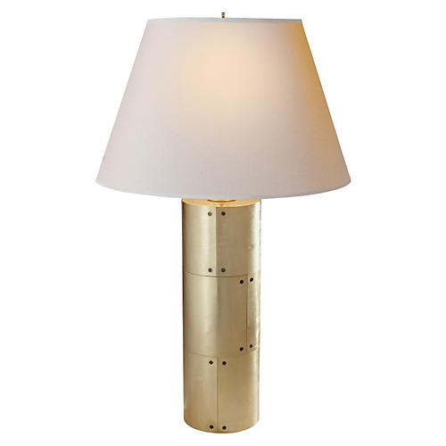 Yul Table Lamp, Natural Brass