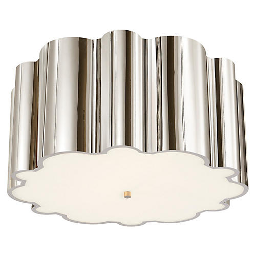 Markos Flush Mount, Polished Nickel