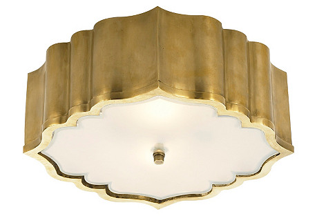Balthazar Flush Mount, Natural Brass
