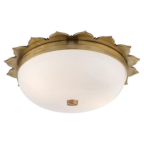 Rachel Flush Mount, Natural Brass